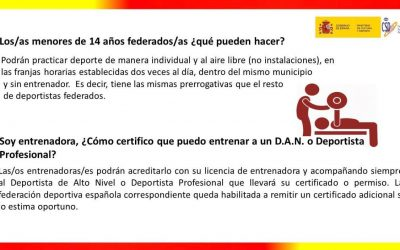Protocolo básico de actuación para la vuelta a los entrenamientos y el reinicio de las competiciones federadas y profesionales. (06/05/2020)